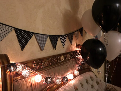 Black and White Wicker Ball Lights