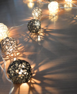 Black White Wicker Ball Lights