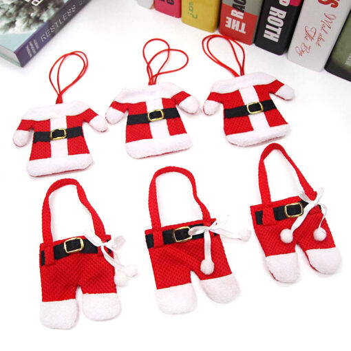 Six Santa Outfit Cutlery Holders